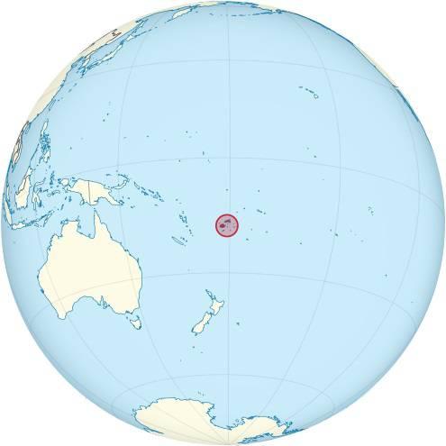 Îles Fidji sur une carte de l'Océanie
