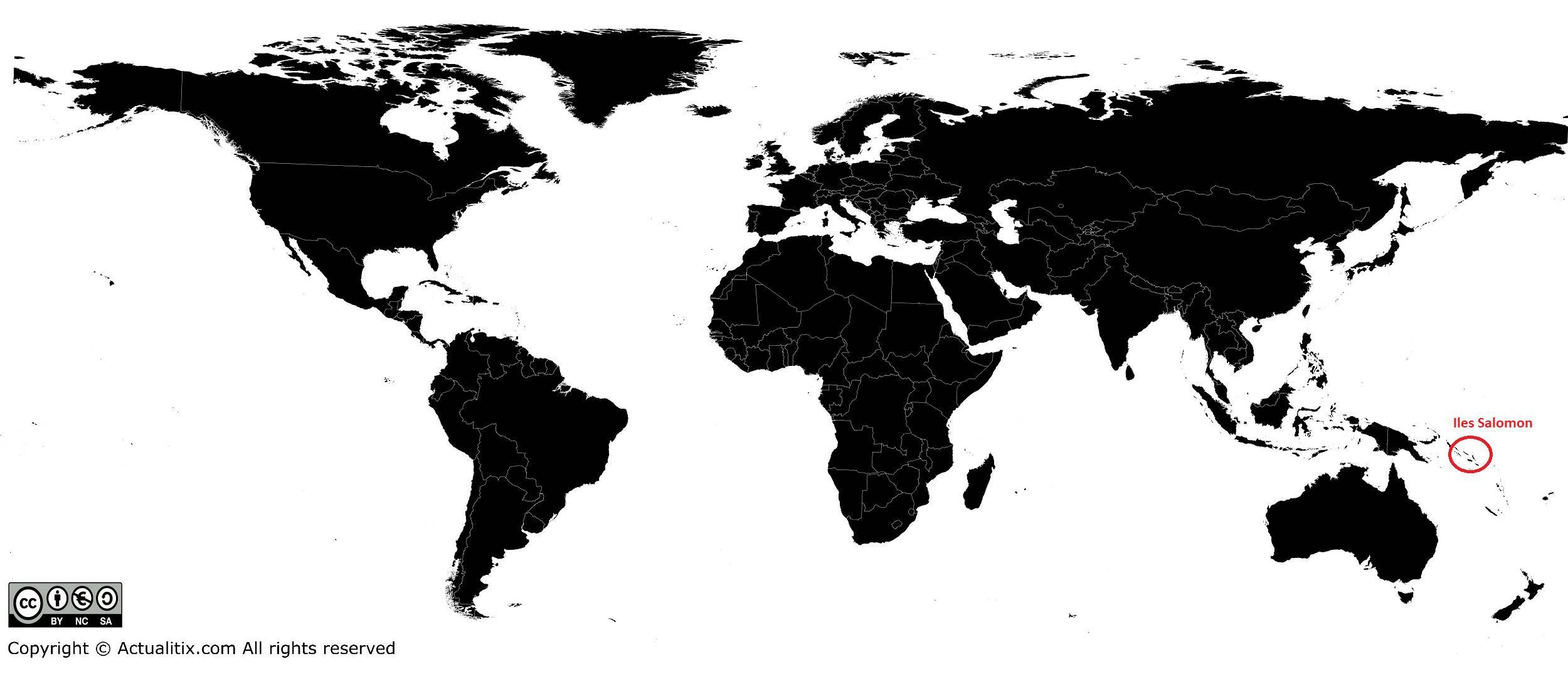 Îles Salomon sur une carte du monde