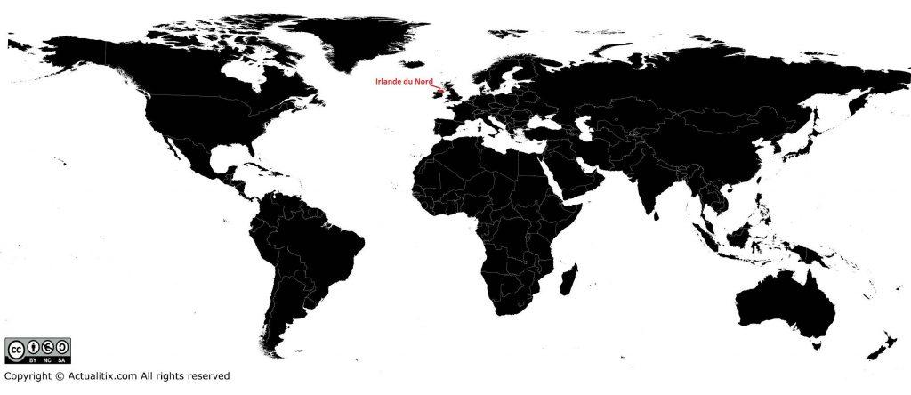 Irlande du nord sur une carte du monde