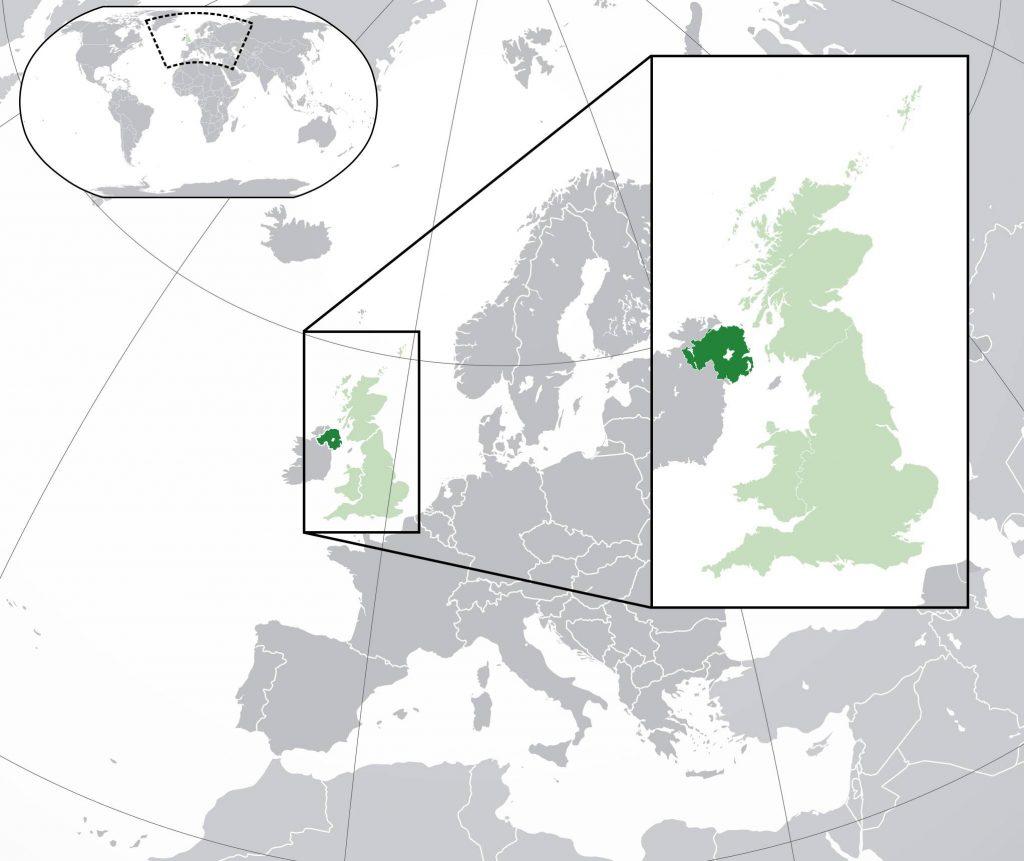 Irlande du Nord sur une carte de l'Europe