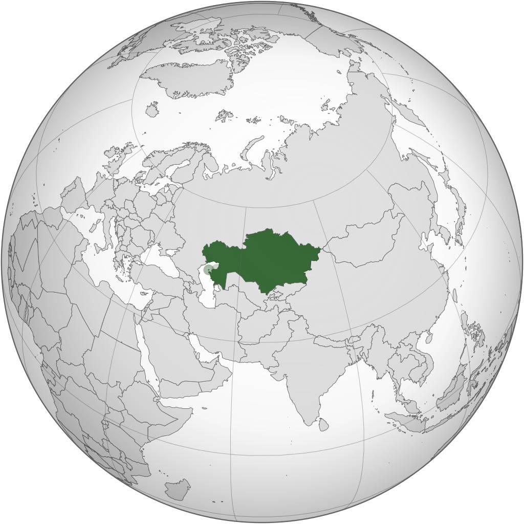 Kazakhstan sur une carte d'Asie