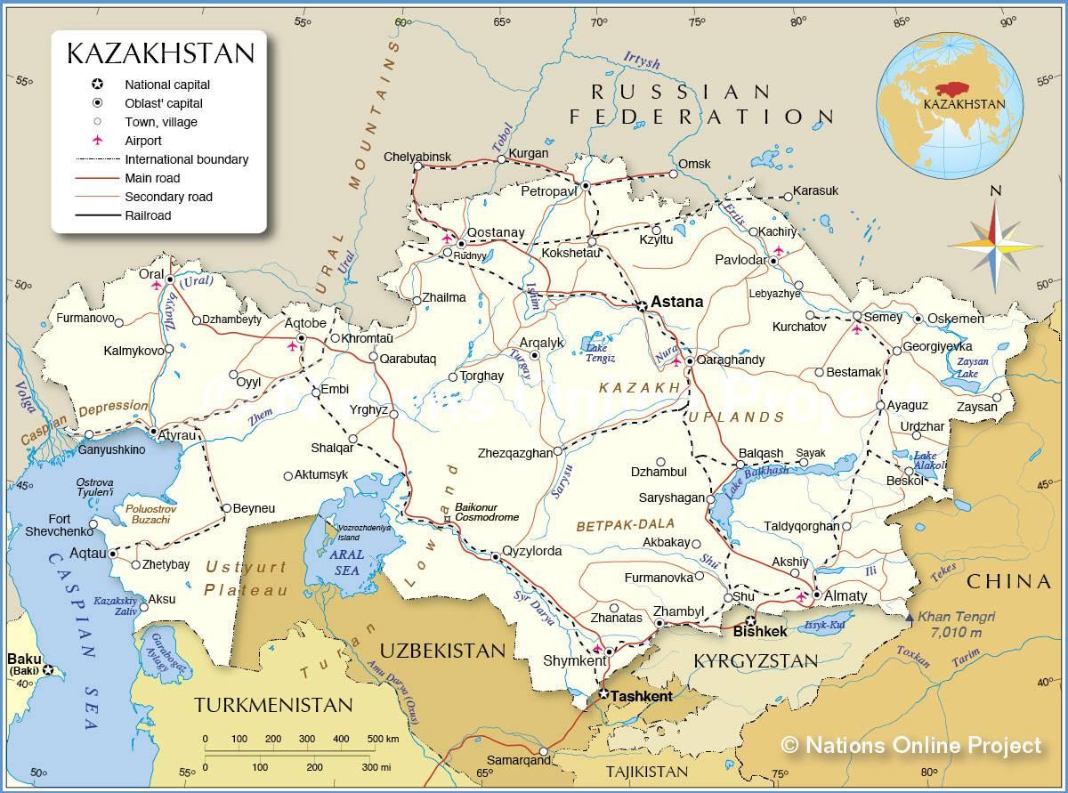 Carte du Kazakhstan