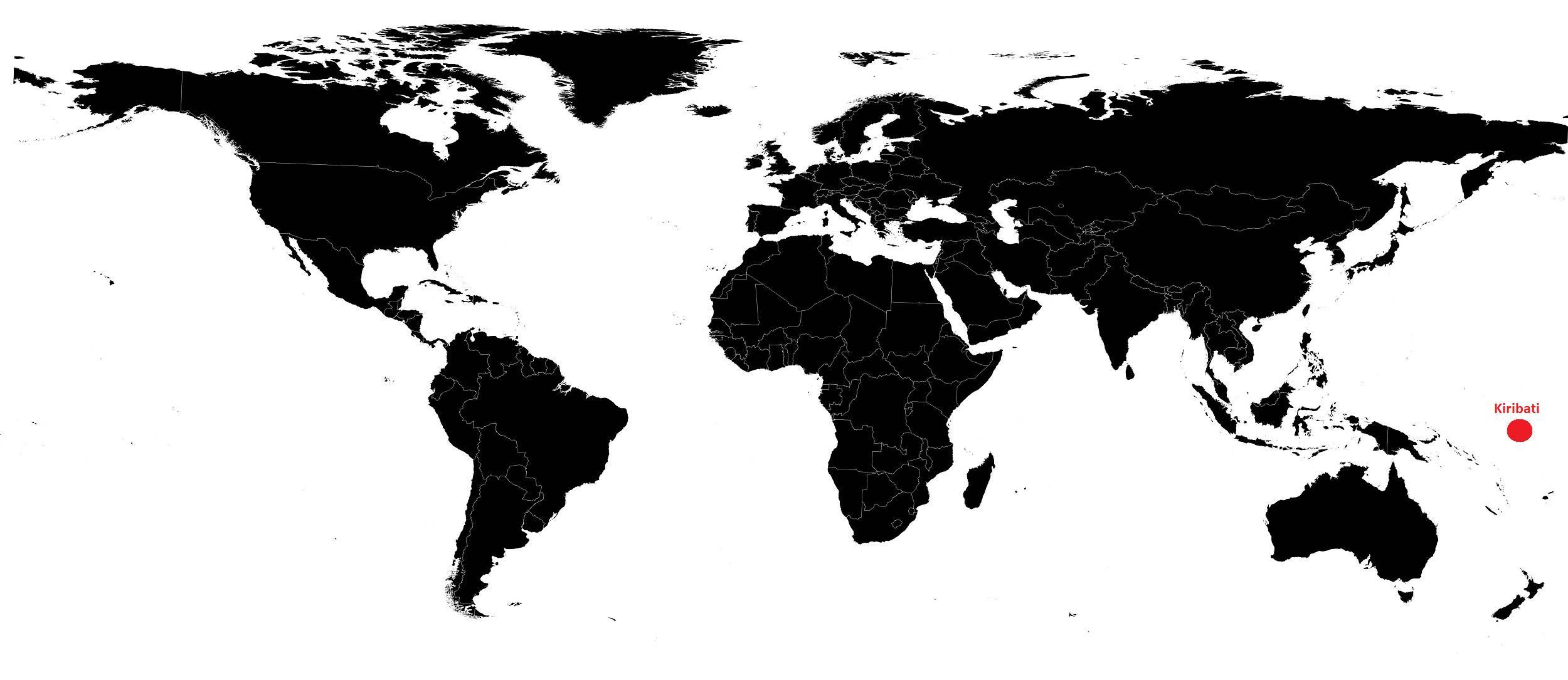 Kiribati sur une carte du monde