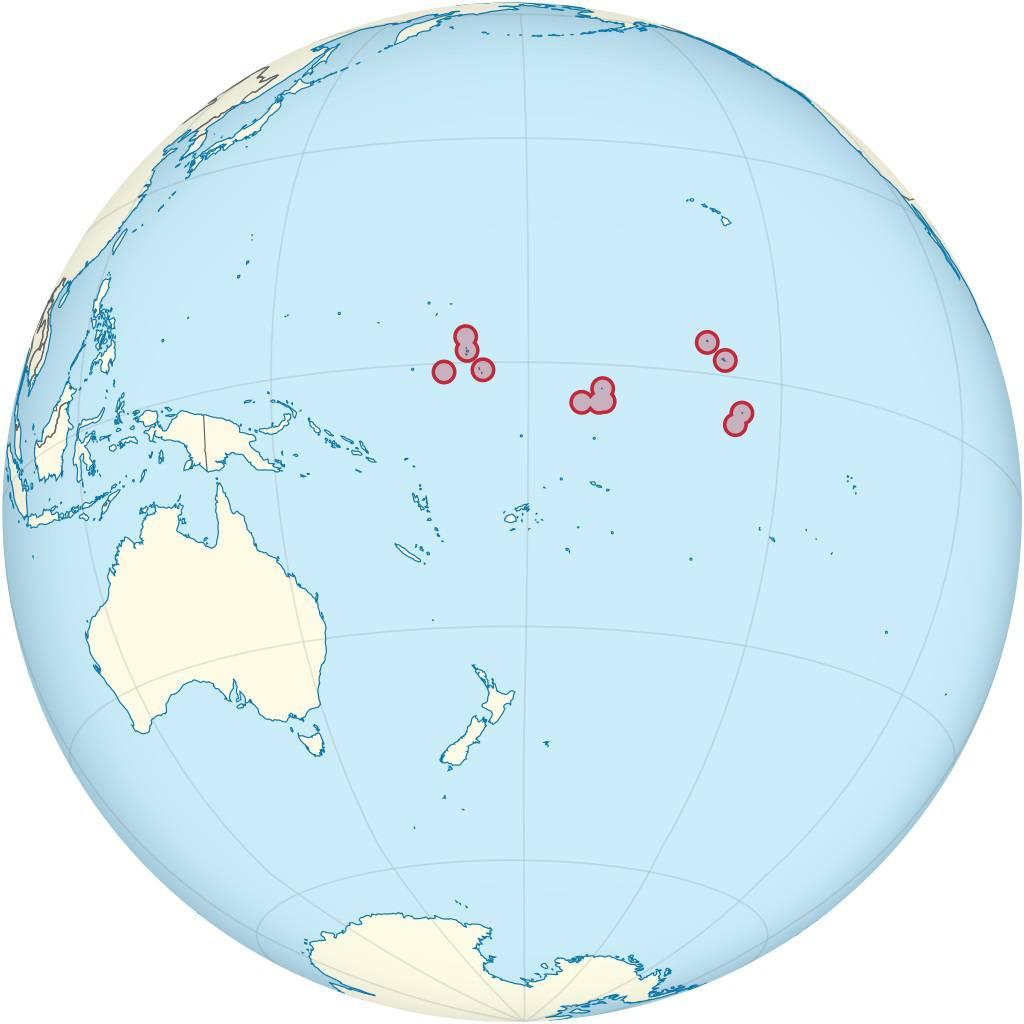 Kiribati sur une carte de l'océanie