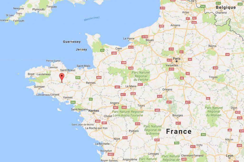 Lac de Guerlédan sur une carte de France