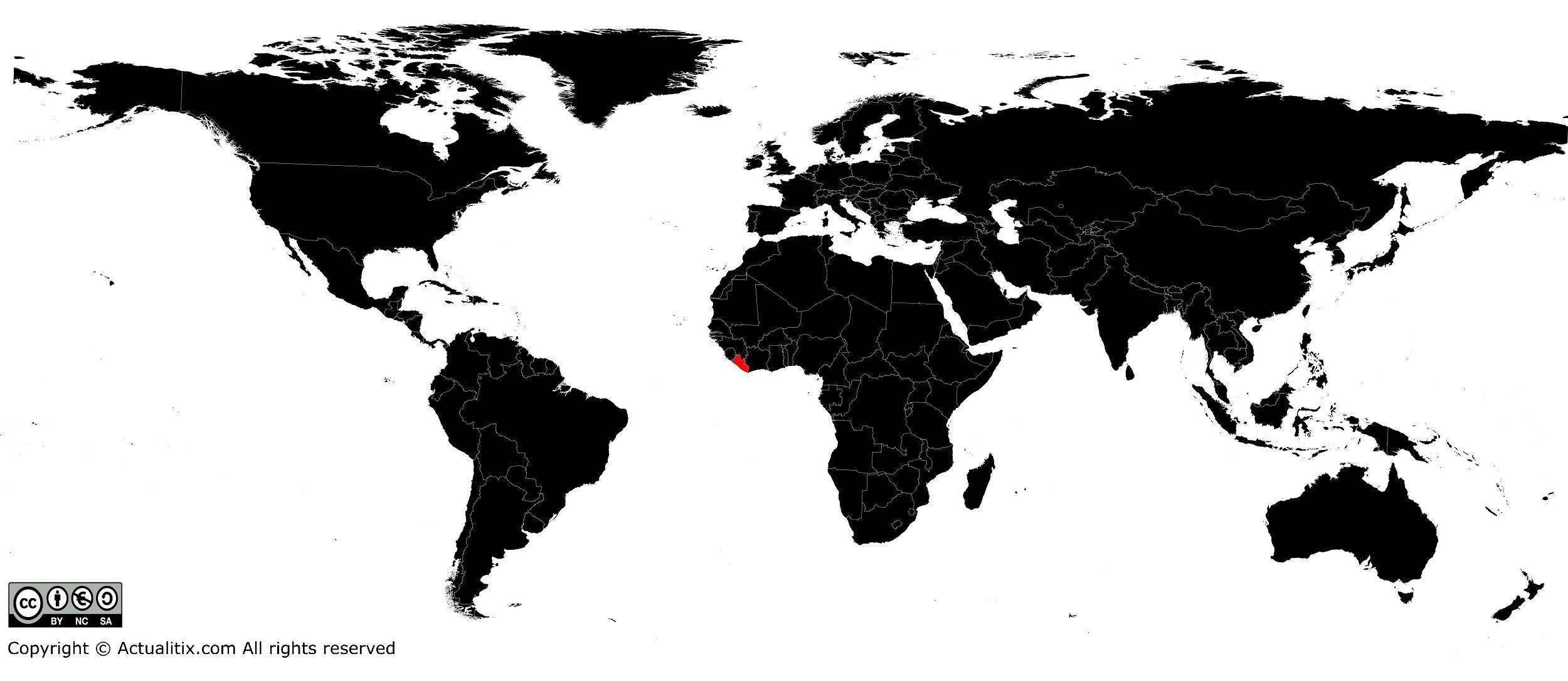 Liberia sur une carte du monde