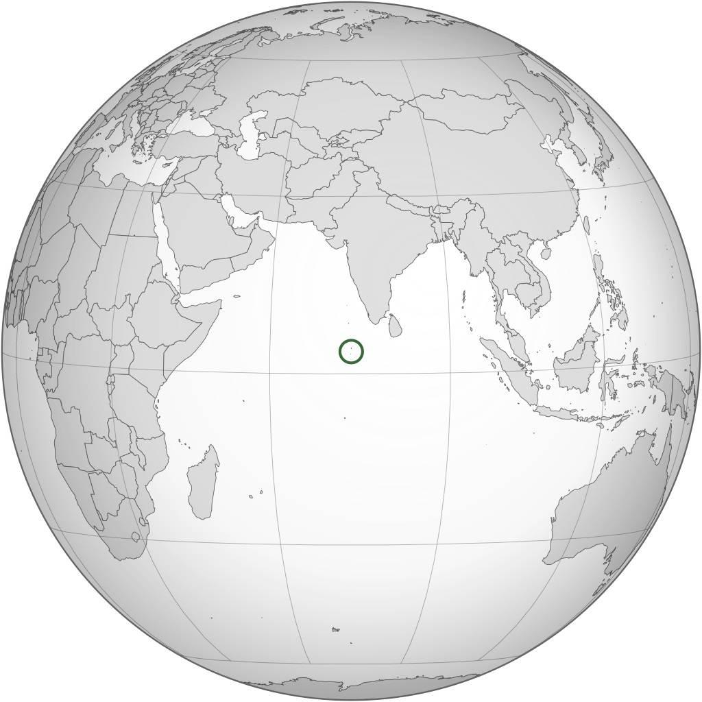Maldives sur une carte de l'Asie