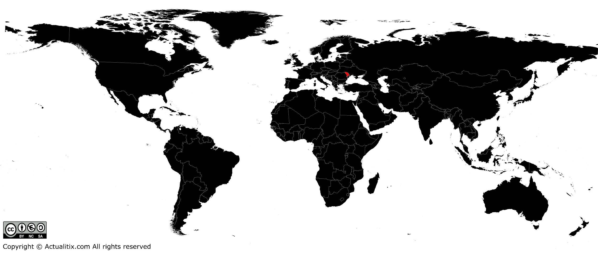 Moldavie sur une carte du monde