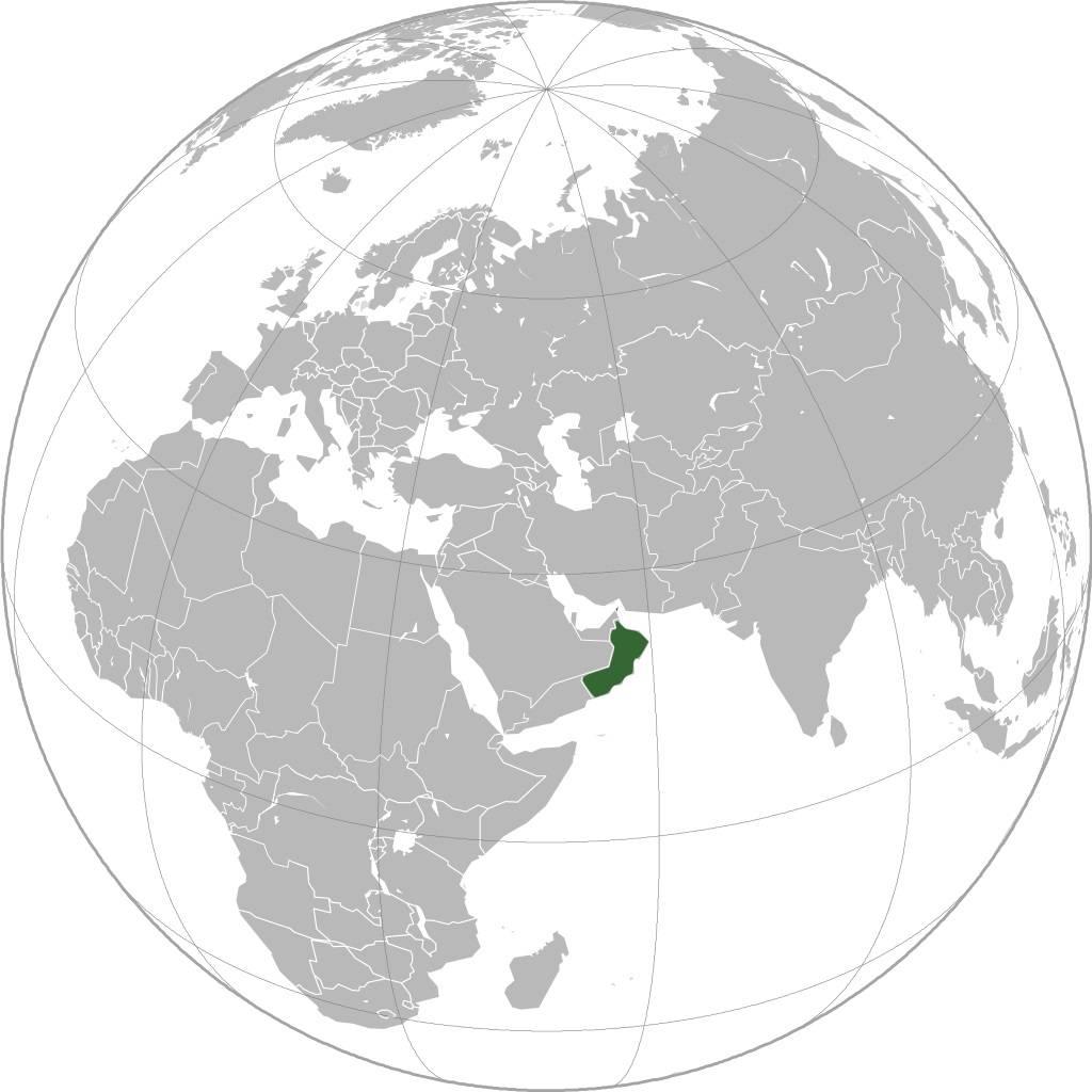 Oman sur une carte de l'Asie