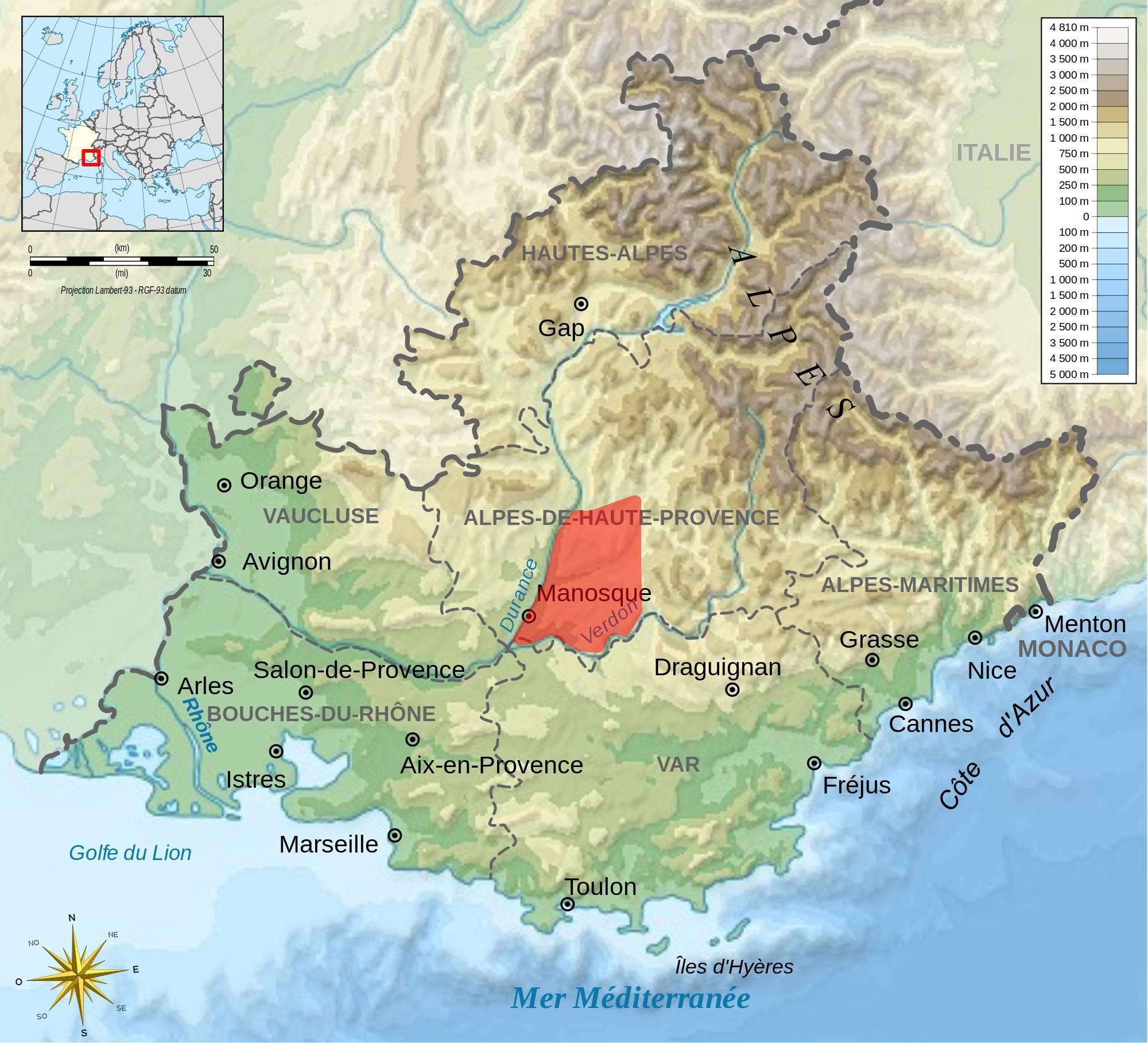Plateau de Valensole sur une carte