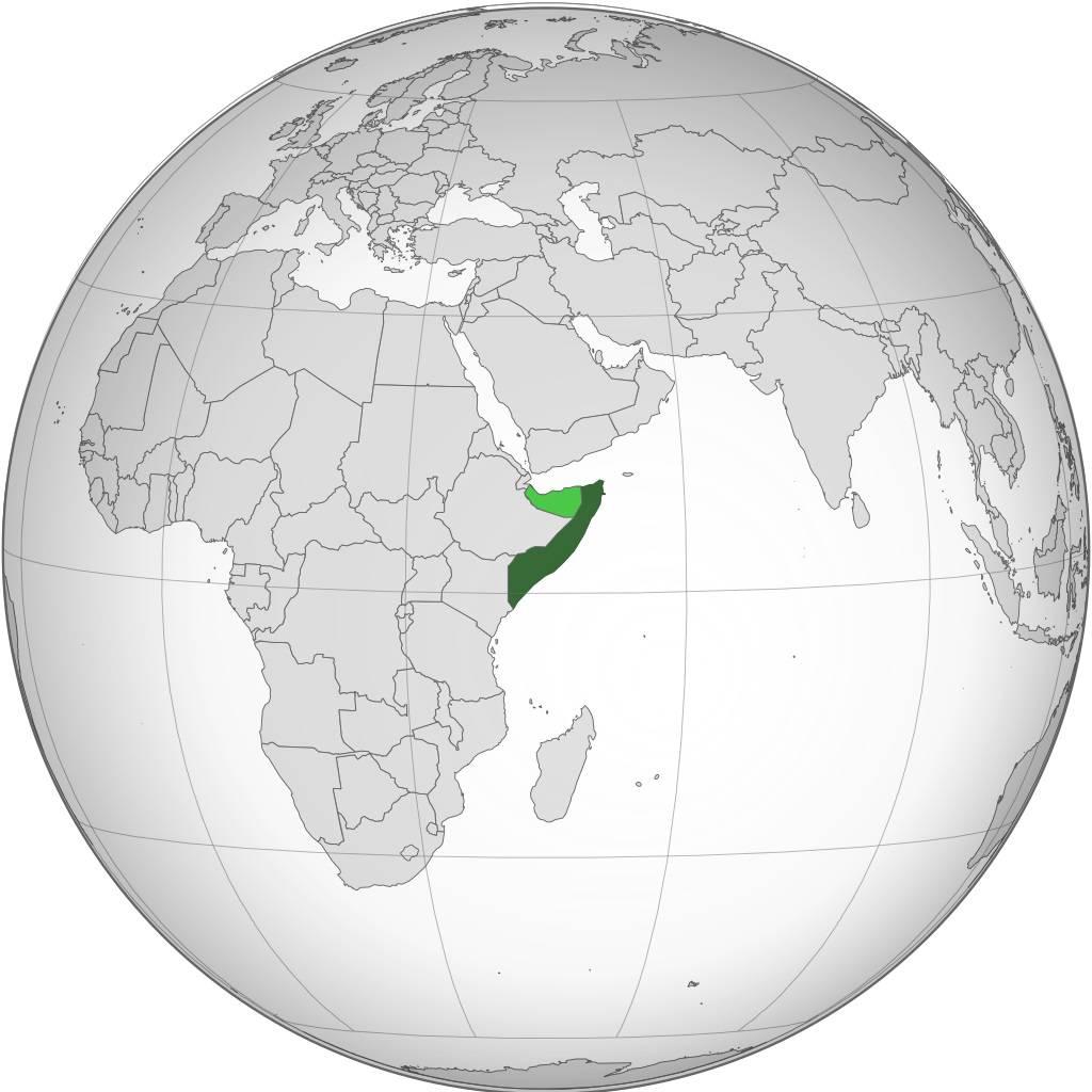 Somalie carte sur une carte d'Afrique