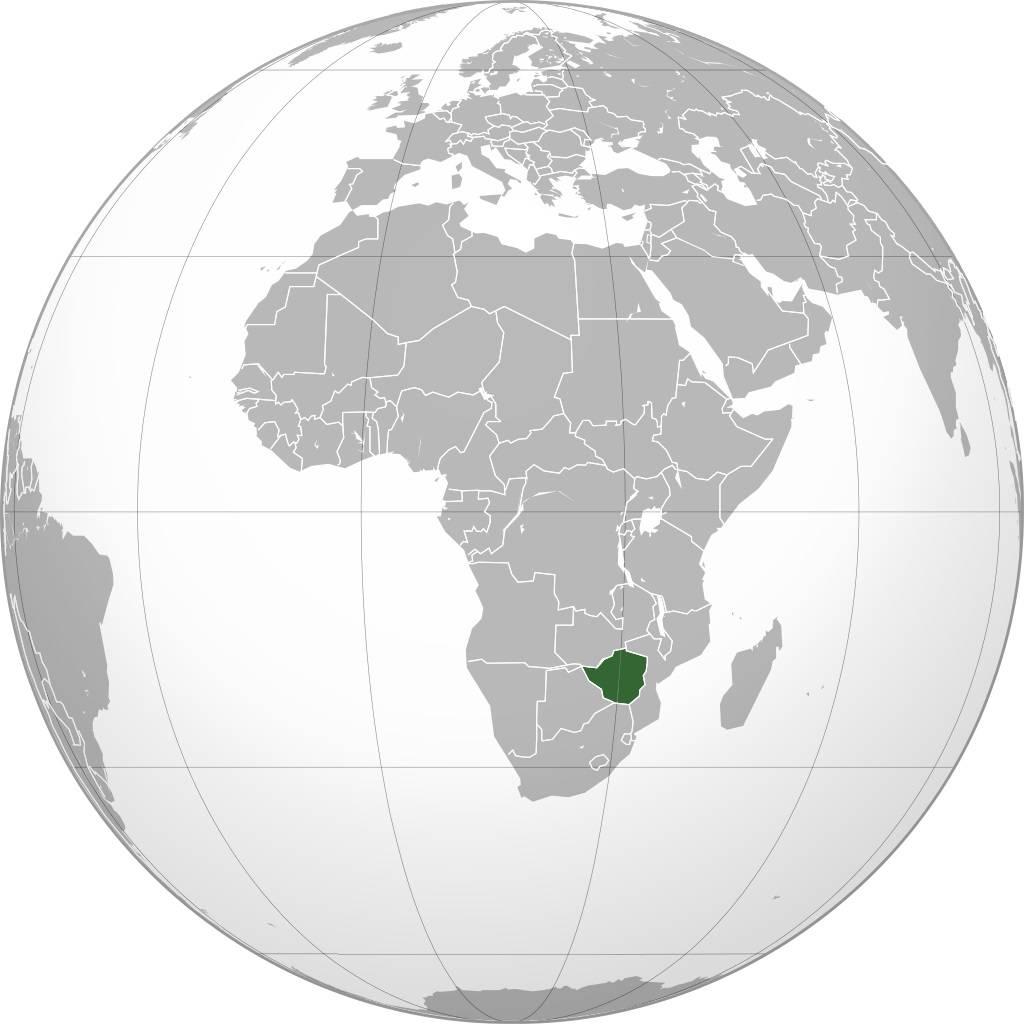 Zimbabwe sur une carte d'Afrique