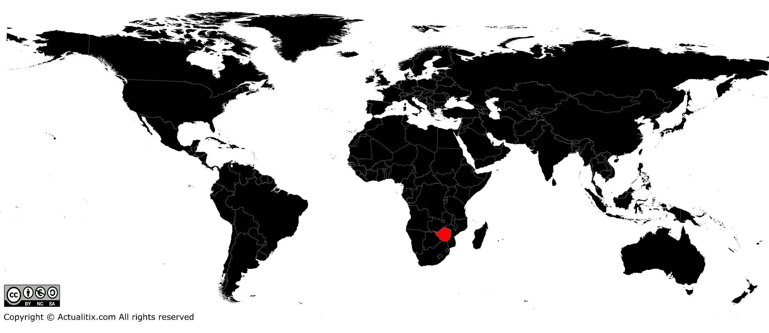 Zimbabwe sur une carte du monde