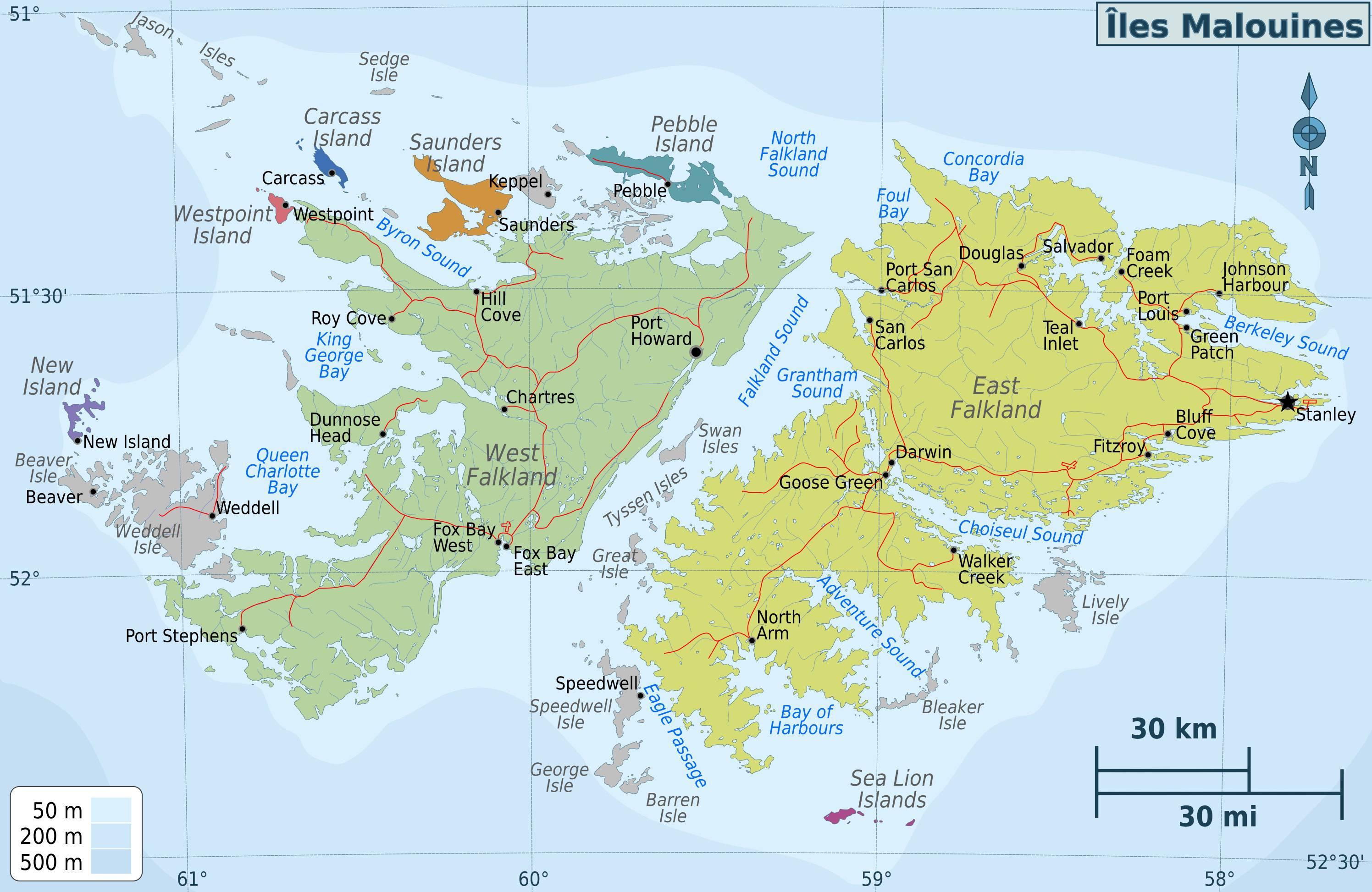 Carte administrative des Malouines (Falkland)
