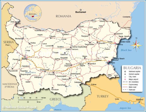 Carte de la Bulgarie
