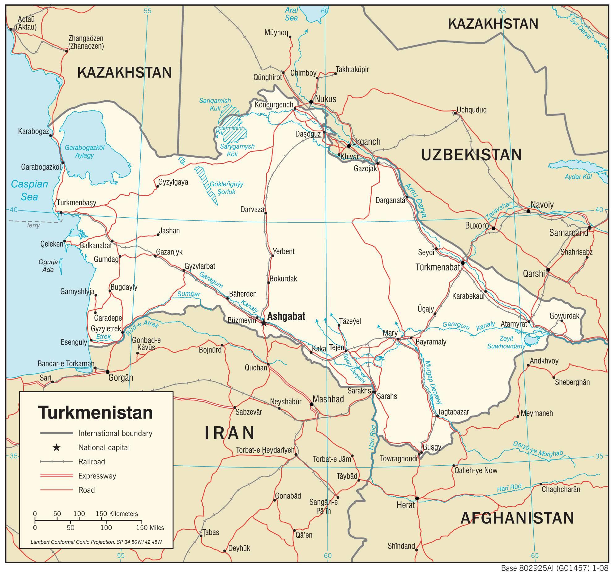 Carte détaillée du Turkménistan