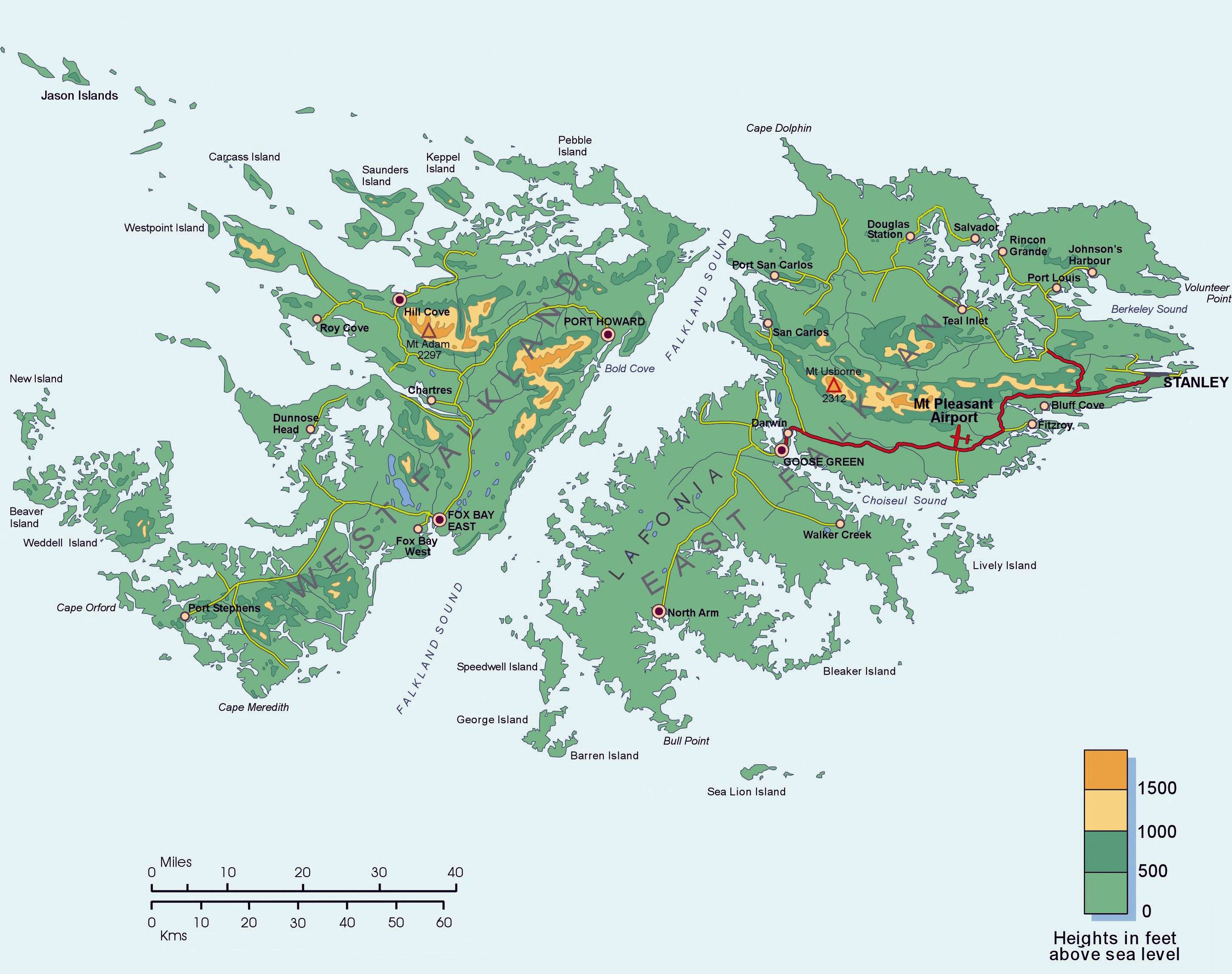 Carte géographique des Malouines