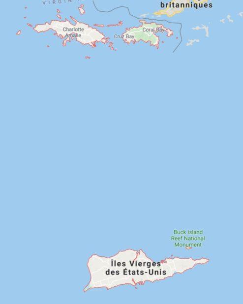 Carte des Îles Vierges des Etats-Unis
