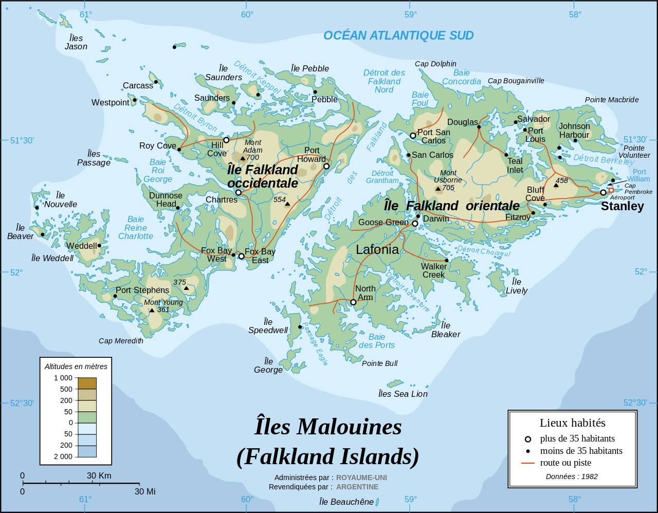 Photo of Carte des Malouines (Falkland)