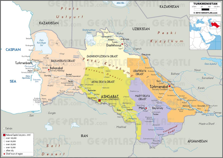 Carte des régions du Turkménistan