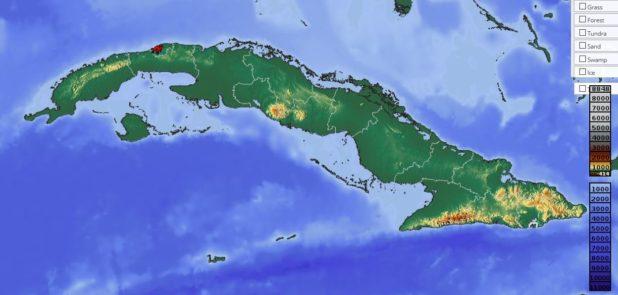 Carte du relief de Cuba