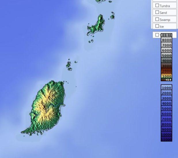 Carte du relief de Grenade (île)