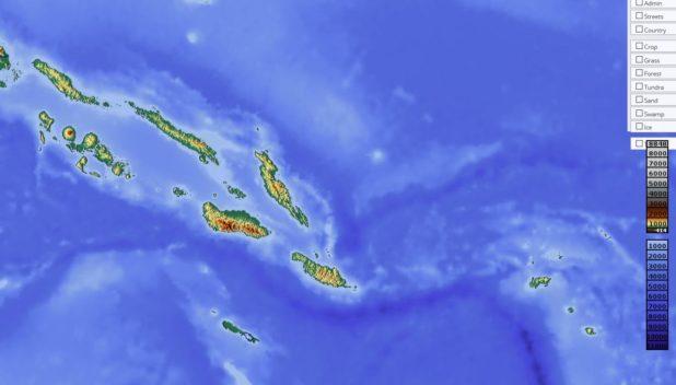Carte du relief des Îles Salomon