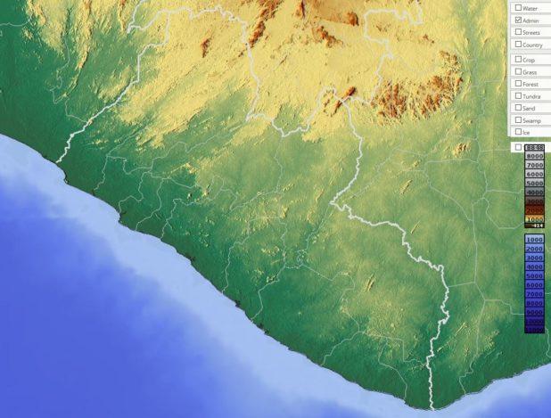 Carte du relief du Liberia