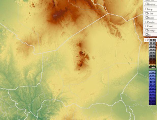 Carte du relief du Niger