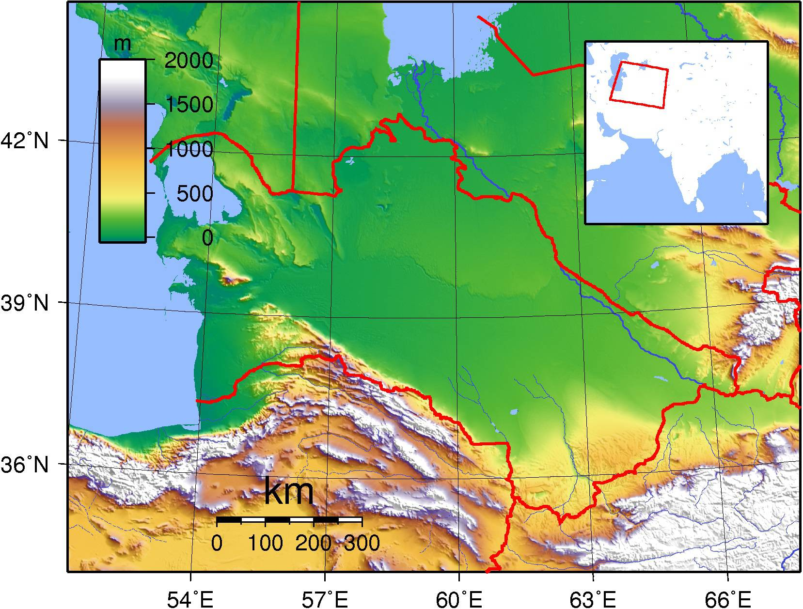 Carte du relief du Turkménistan
