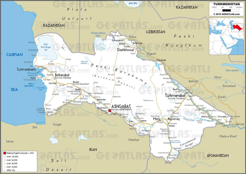 Carte routière du Turkménistan