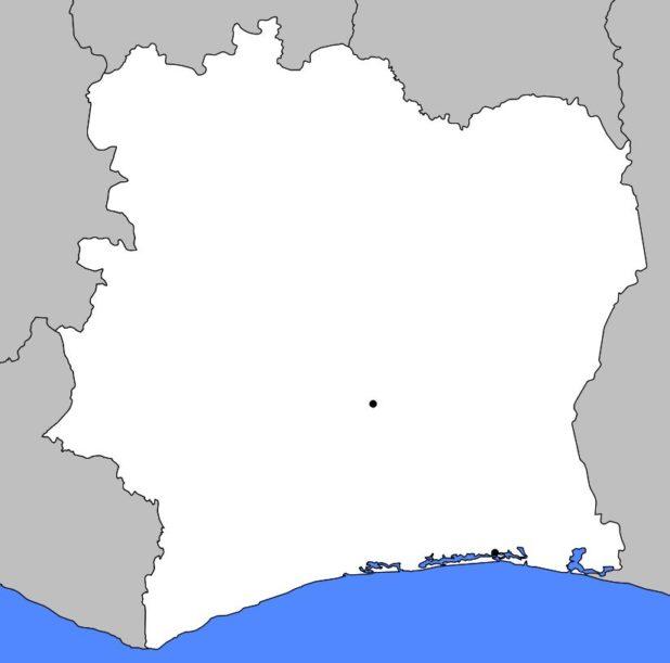 Carte vierge de la Côte d'Ivoire