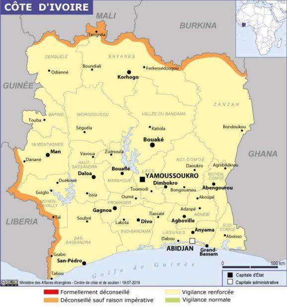 Carte des villes de Côte d'Ivoire