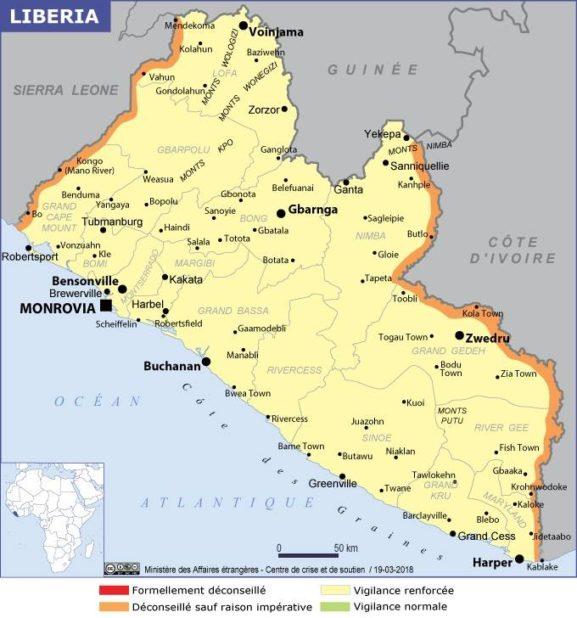 Carte des villes du Liberia