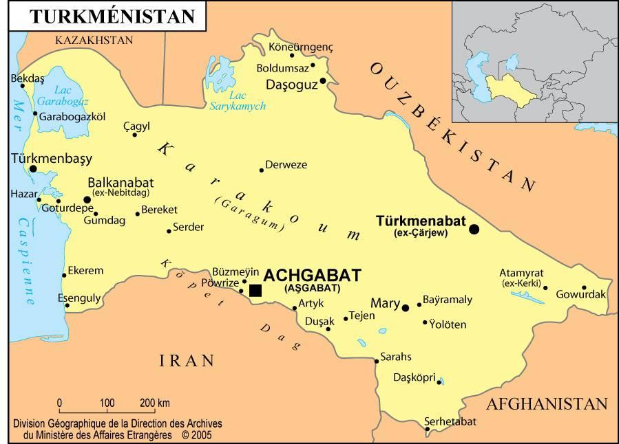 Carte des villes du Turkménistan