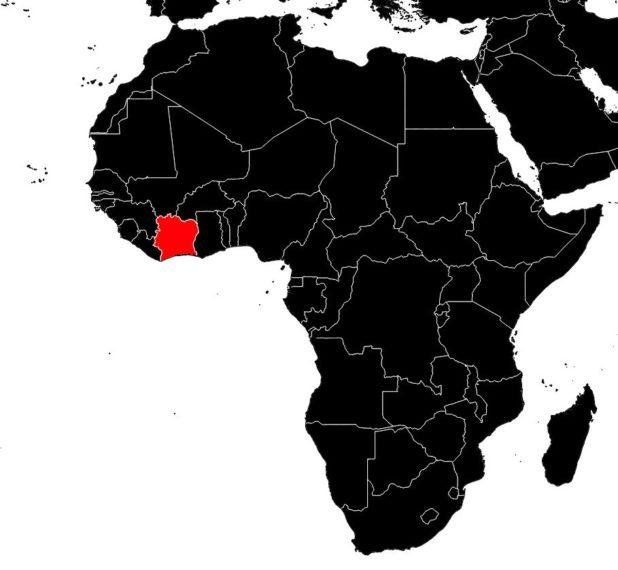 Côte d'Ivoire sur une carte d'Afrique