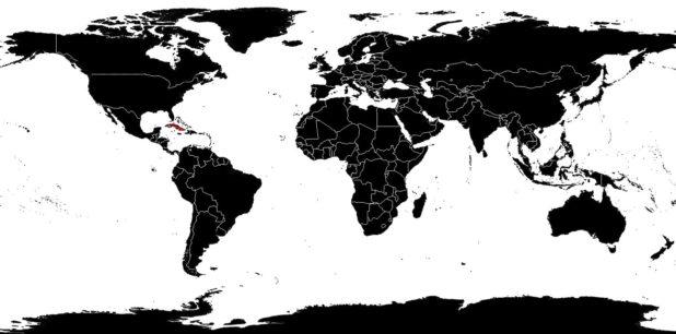 Cuba sur une carte du monde