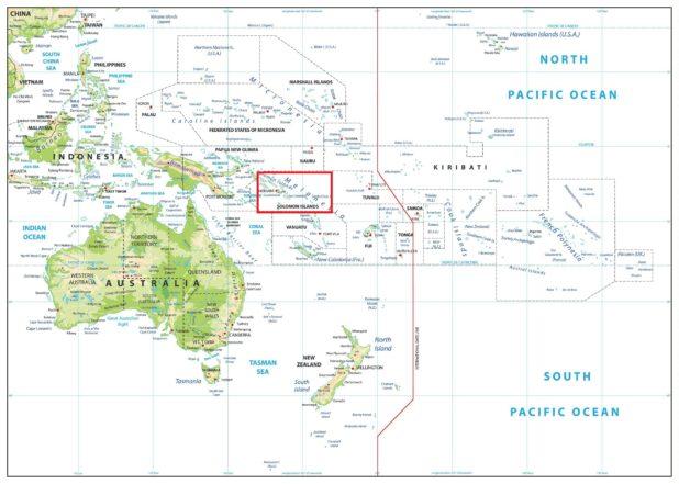 Îles Salomon sur une carte d'Oceanie
