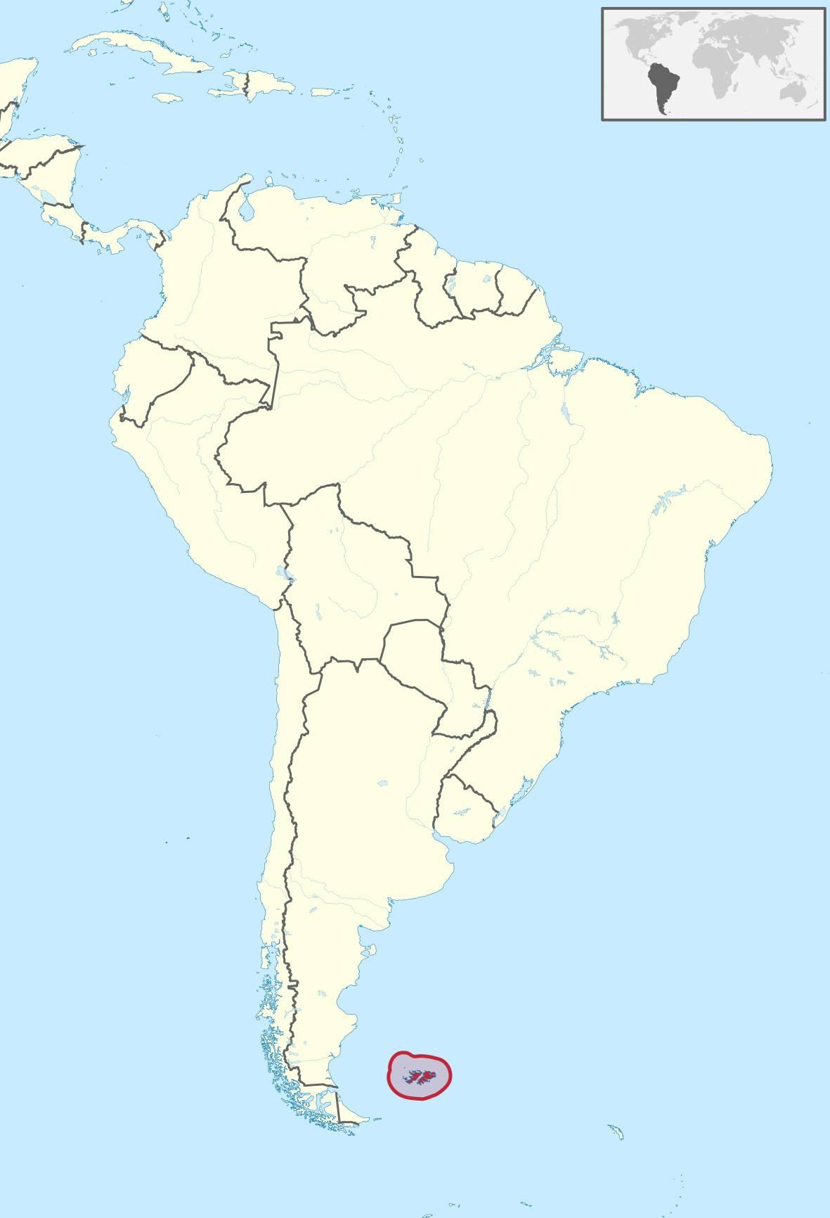 Malouines sur une carte de l'Amérique du Sud