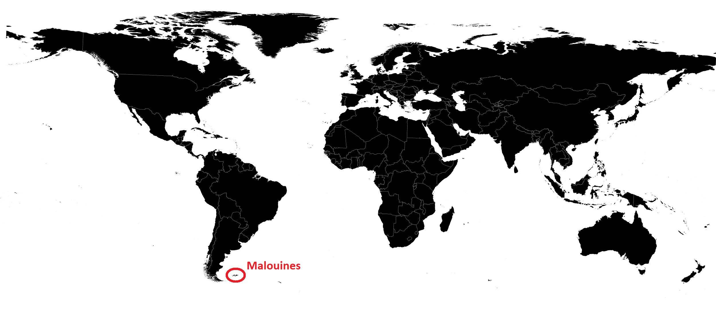 Malouines sur une carte du monde