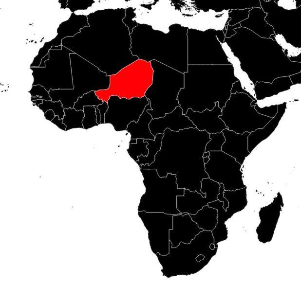 Niger sur une carte d'Afrique