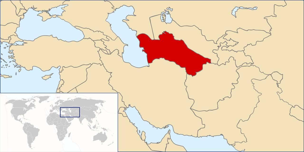 Turkménistan sur une carte d'Asie