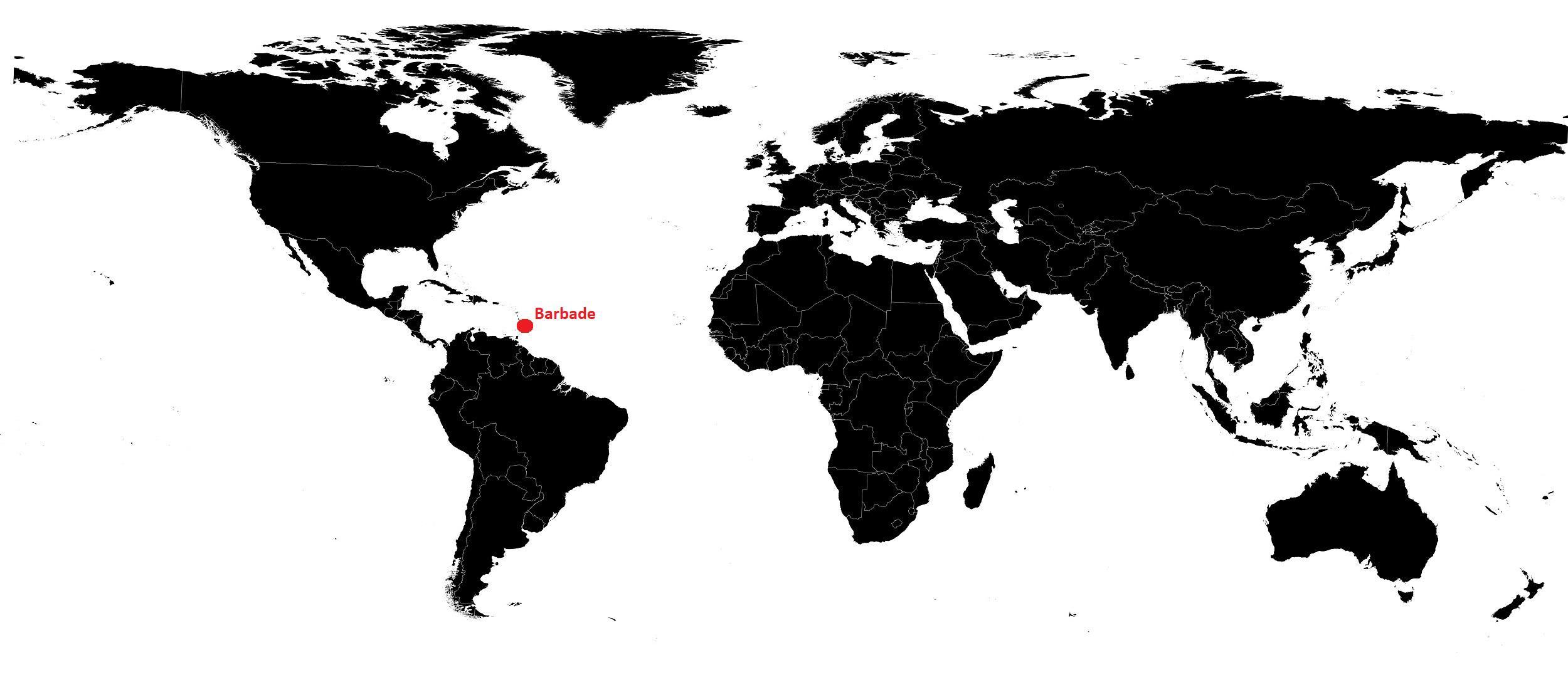 Barbade sur une carte du monde
