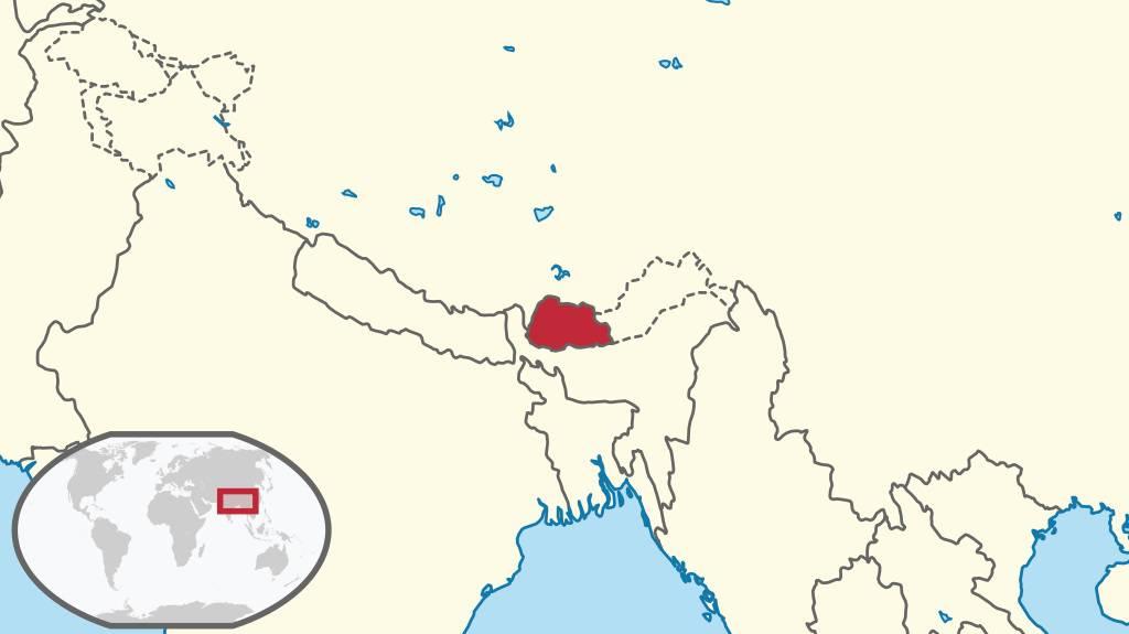 Bhoutan sur une carte de l'Asie