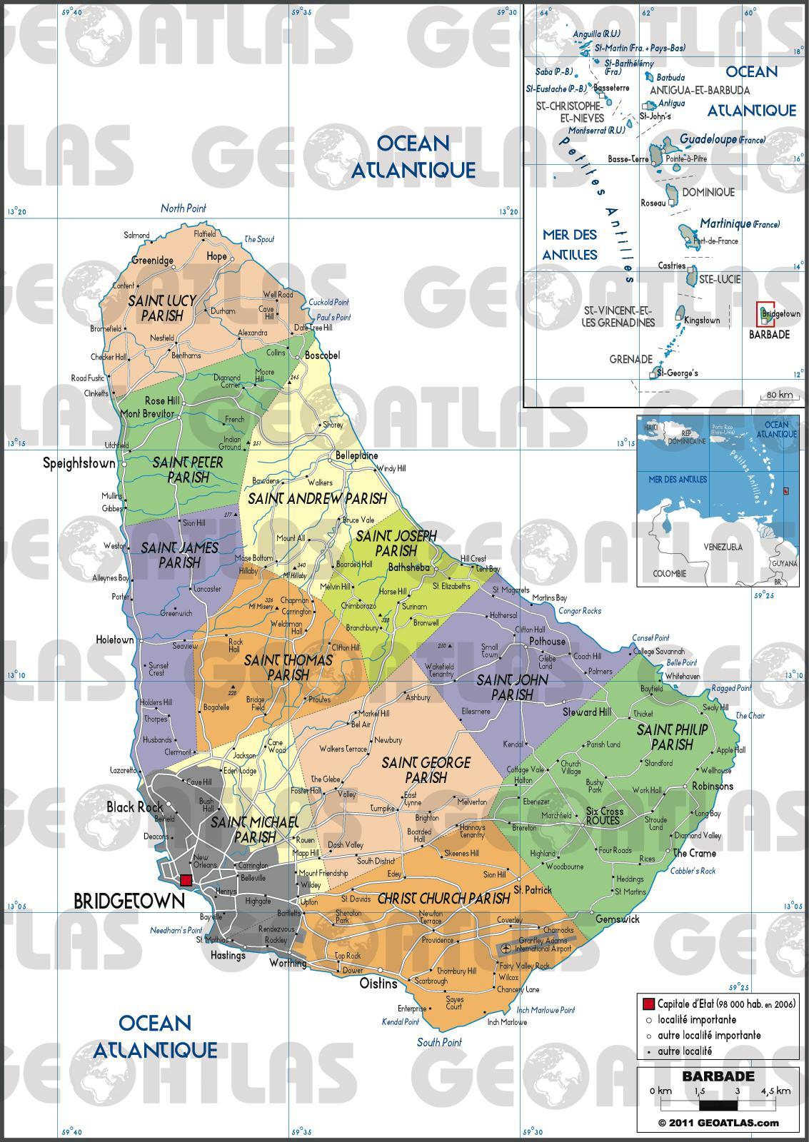 Carte administrative de la Barbade