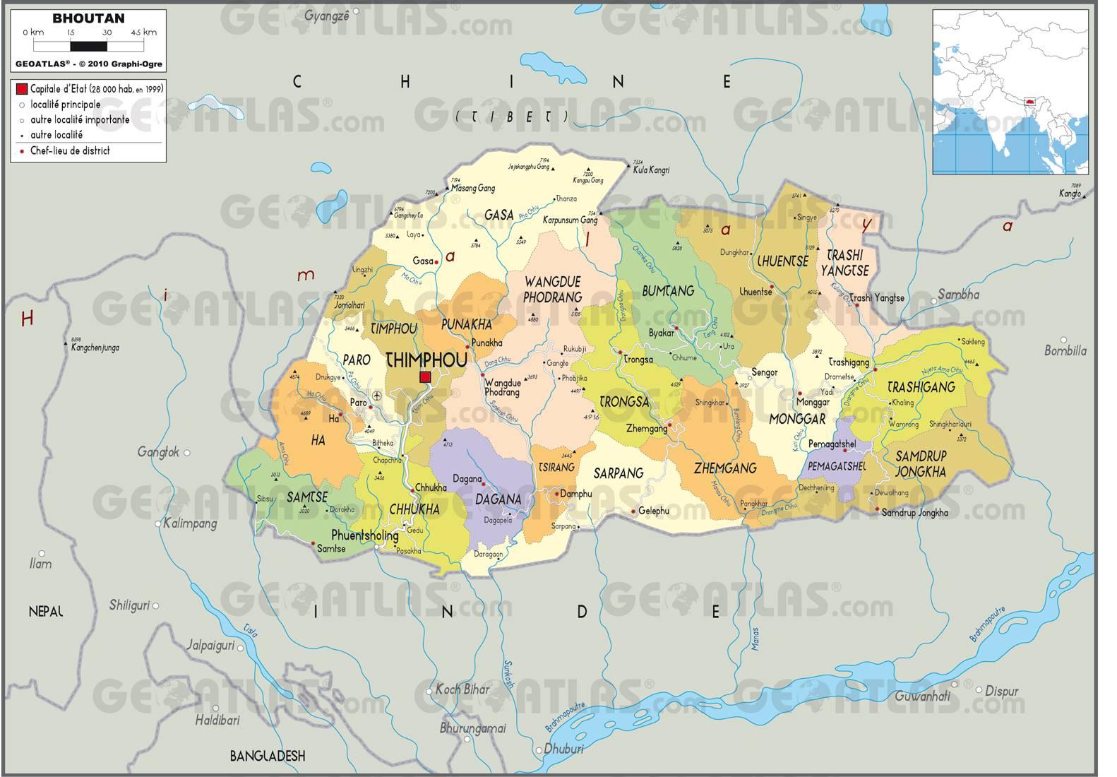 Carte Asie Bhoutan.Carte Du Bhoutan Plusieurs Cartes Du Pays En Asie