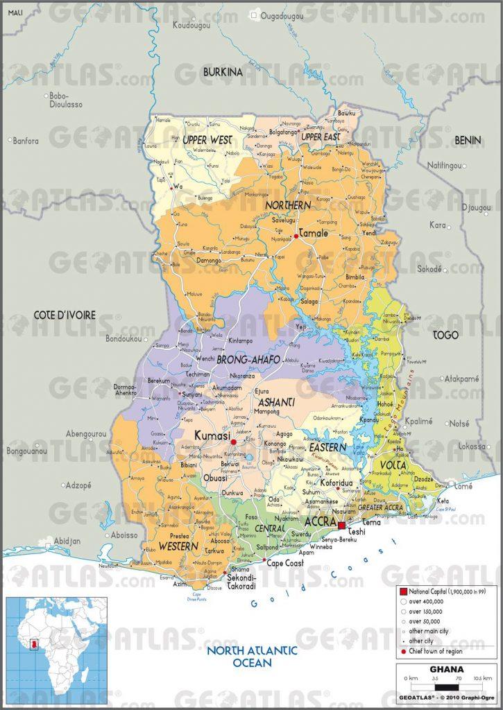 Carte administrative du Ghana