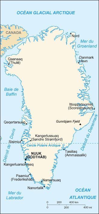 Carte administrative du Groenland