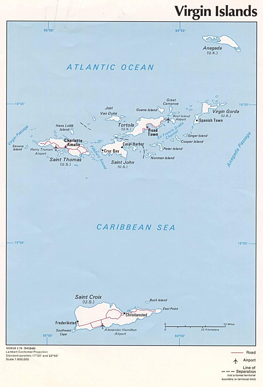 Carte administrative des Îles Vierges Britanniques