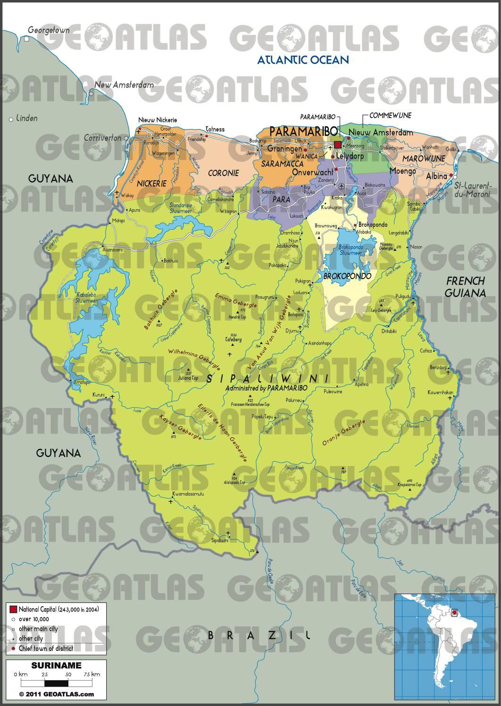 Carte administrative du Surinam